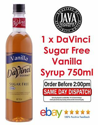 Davinci Sugar Free Vanilla Flavoured Syrup 750ml Bottles Cafe Gift Bakery