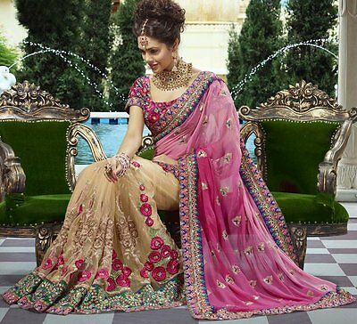 Designer Indian Wedding Bridal Engagement Sari Bollywood Heavy Work Saree