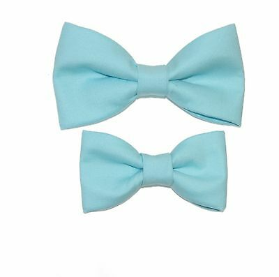 Father / Toddler Son Matching Robins Egg Blue Cotton Clip On Bow Ties
