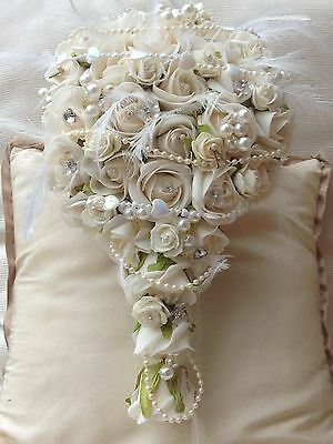 Ivory Roses Wedding Flowers Teardrop Brides  Bouquet Pearls Feathers  Brooch