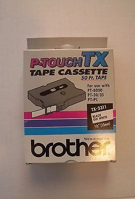 """BROTHER P-TOUCH TX-2311 Black on White 1/2"""" (12mm)  NEW Factory Sealed TX2311"""