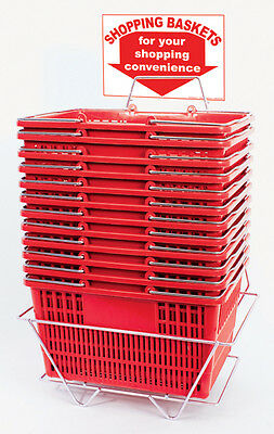 Plastic Shopping Basket Retail Grocery Store Cart Lightweight Set of 12 Red NEW
