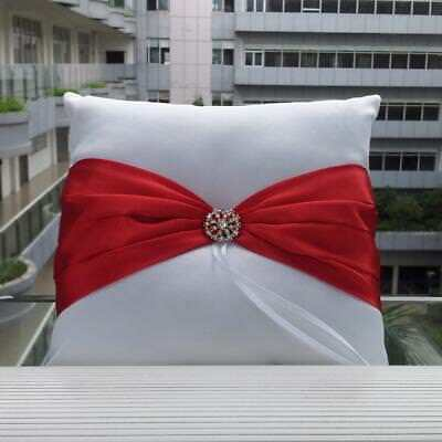 Wedding White Satin Ring Bearer Pillow Cushion Red Ribbon & Diamante Decor