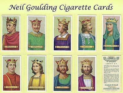 Carreras - Kings & Queens of England 1935 #1 to #50 Cigarette Cards