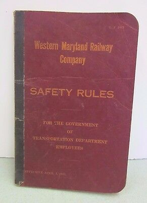 Western Maryland Railway Co. Safety Rules Dated 1943 Railroad Booklet