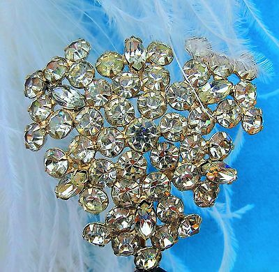 Stunning Art Deco rhinestone pave heart prong set large brooch pin   id