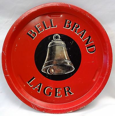 Vintage Advertising Tin Tray Old Bell Brand Lager Red Color Serving Tray Rare #4