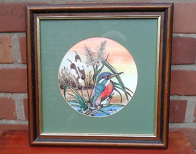 L. Walsh: Framed watercolour of a Kingfisher.
