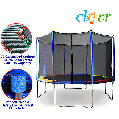 New Clevr 12 FT Trampoline Bounce Jump Safety Enclosure Net W/ Spring Pad Round