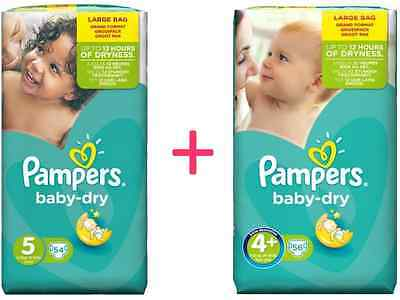 (2 Paquets) Pampers BABY DRY Taille 4+ (56 couches)+Taille 5 (54 couches) à 27€