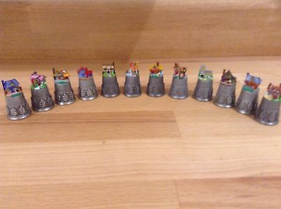 Pewter Thimbles Houses X 12 Hand Painted