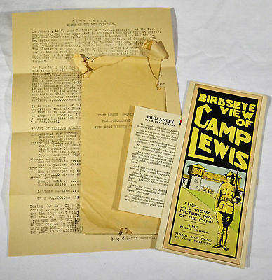 WWI Camp Lewis WA Map & Discharged Soldier Souvenir YMCA Packet