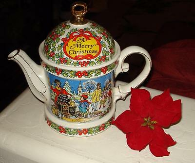 "Vintage Sadler China Teapot ""A Merry Christmas"" Made in England 2005894"