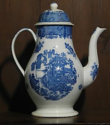 Pearlware blue and white transfer printed coffee pot chinoiserie C1800