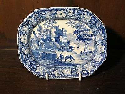 Pearlware blue and white transfer printed small platter C. 1830