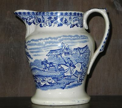 Blue and white transfer printed pearlware Staffordshire large jug C1850