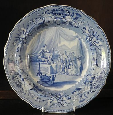 Pearlware blue and white transfer printed plate British History C1830