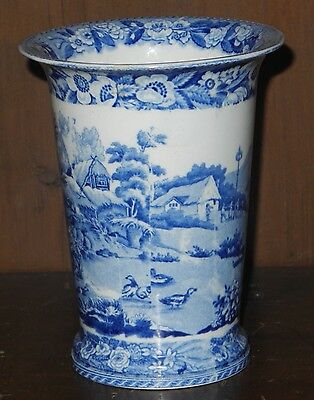 Pearlware blue and white transfer printed spill vase Minton C1830