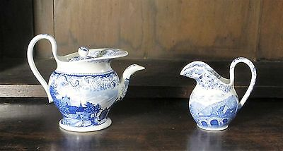 Pearlware blue and white transfer printed child's teapot and jug C. 1830