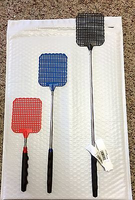 Set of 3 Telescoping Fly Swatters - Assorted Colors - Red, Blue, & Black - NEW!