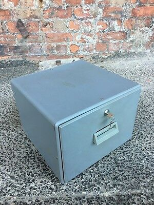 Small Metal And Plastic Lockable Document Drawer - Vintage Mini Filing Cabinet
