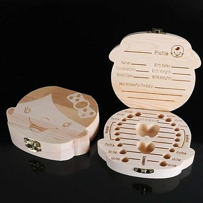 Baby Tooth Box Organizer Kids Milk Teeth Save Wood Storage Collecting Container