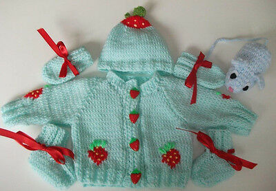 "Hand Knitted ""Strawberry Delight"" Themed Cardigan Set & Molly Mouse Toy"