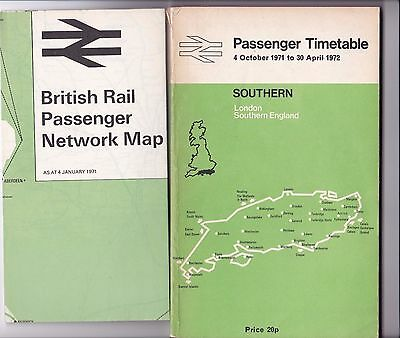 British Railways Southern Region Passenger Timetable October 1971 includes Map