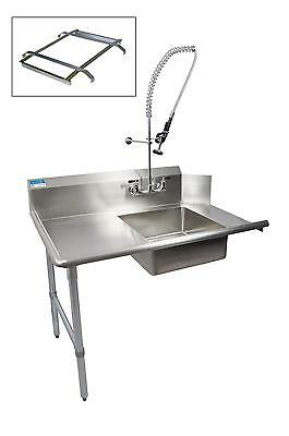 "BK Resources 60"" Soiled Dishtable Left w/ Pre-Rinse Faucet & Rack Guide"