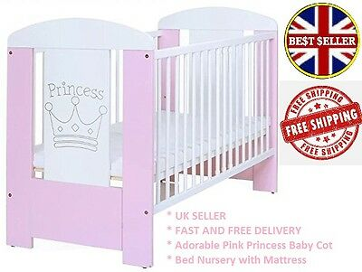 Adorable Pink Princess Baby Cot Bed Nursery with Mattress and Teething Rails