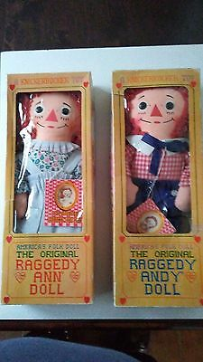 Vintage Raggedy Ann & Andy Dolls By Knickerbocker Toys - Mint In Original Boxes