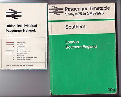 British Railways Southern Region Passenger Timetable May 1975 includes Map