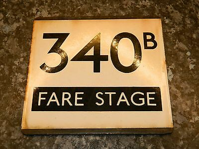 *(Buy It Now) London Transport E plate 340B Fare Stage