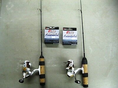 "2 Pack Okuma Celilo Ice Rod 24""ml Ce-S-241Ml W/ No. 8 Caribou Reel Free Line"