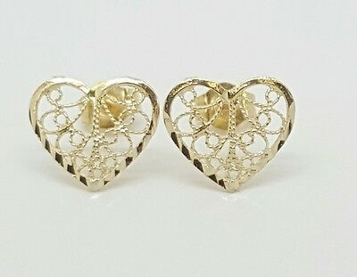 79af90a2b 14k Solid Yellow Gold Heart Stud Earrings Women/Children Push Back 10MM