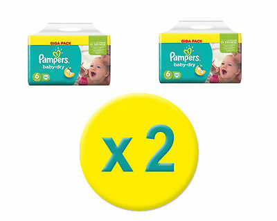 2x92 Couches Pampers Baby Dry GIGA – Taille 6, 15+ Kg