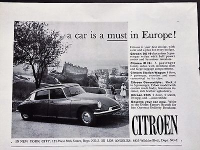 1961 Citroen Print Ad Original National Geographic Magazine Europe Car Auto