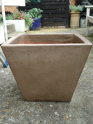 Large Glazed Square tapered Plant Pot brown IPSWICH planter