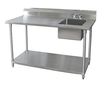 """BK Resources 72""""Wx30""""D Stainless Steel Prep Table w/ Right Side Sink"""