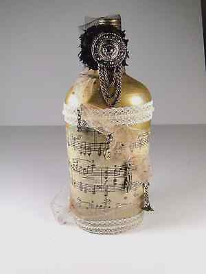 Handmade Unique Music Lovers Bottle Musical Notes Charms Painted Gold w/Tulle
