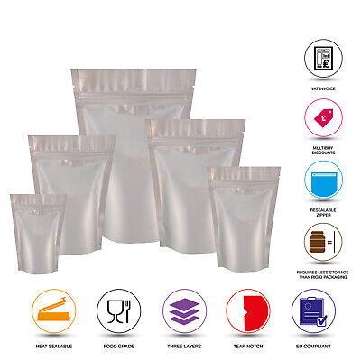 Silver Matt Stand Up Pouches Mylar Foil Bag Heat Seal Food Grade Zip Lock Bags