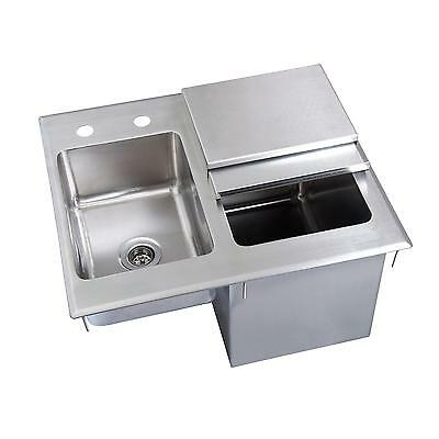 "BK Resources 21""Wx18""Dx12""D Stainless Steel Drop-In Ice Bin with Sink"