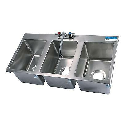 "BK Resources Three Compartment 36""""x18"" Stainless Steel Drop-In Sink"