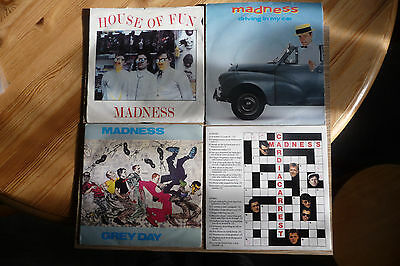 "4 MADNESS 7""s,Ska,Skinhead,2 Tone,Pop.Grey Day,House of fun,2 others + Poster."