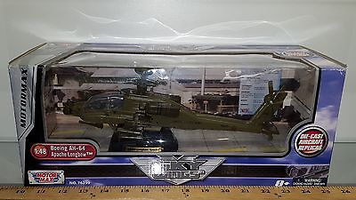1/48 Motormax Military Longbow Apache Ah-64 Helicopter Army Green & Stand