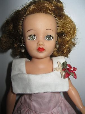 Vintage Ideal Little Miss Revlon Doll-With Dress Original Earrings-Good Conditio