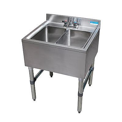"Bk Resources 24""W Two Compartment Stainless Steel Underbar Sink - Bkubs-224S"