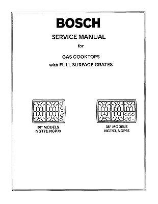Repair Manual: Bosch Ovens & Cooktops (choice of 1 manual,Models in Description)