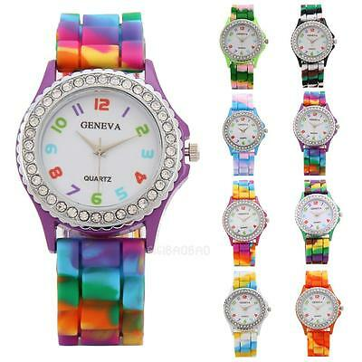 Women Girls Rainbow Crystal Rhinestone Watch Silicone Jelly Sports Wrist Watch
