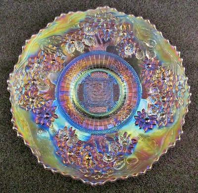 CARNIVAL GLASS - FENTON ORANGE TREE / Bearded Berry White Plate - GREAT PASTELS